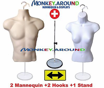 2 Mannequin Male Female White Flesh Form +1 Stand +2 Hook - Display Shirt Dress