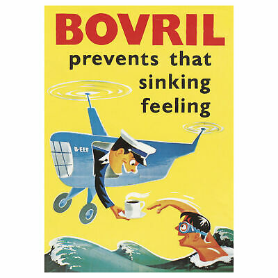New Bovril Prevents Sinking Feeling Airplane Postcard Official Vintage Opie Swim