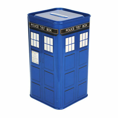 New Tall Metal Tardis Money Box Tin Piggy Bank Dr Doctor Who Dalek Gift Novelty