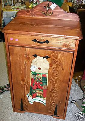 **NEW** Custom Single Wood Trash Bin - choose stain, varnish, cut-outs, etc.!