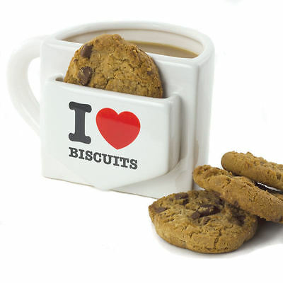 I Love Biscuits Mug With Cookie Pocket Ceramic Coffee Cup Novelty Office Gift