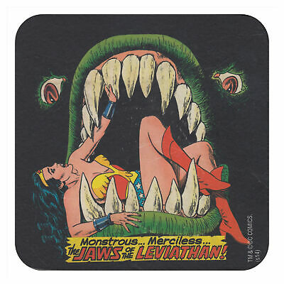 Wonder Woman Jaws Of Leviathan Coaster Vintage Retro Drinks Mat Dc Comics Diana