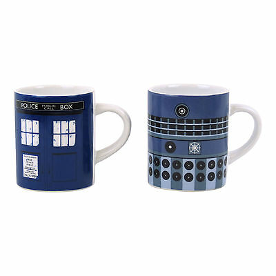 Doctor Who Tardis & Dalek Set Of 2 Espresso Cups Ceramic Coffee Mug Dr Capaldi