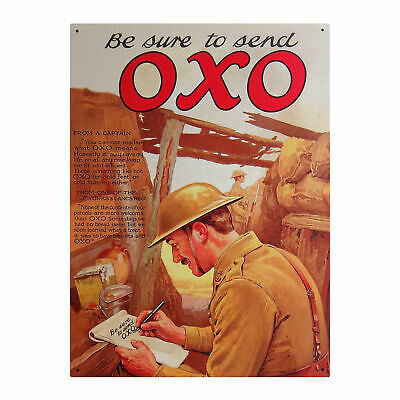 Be Sure To Send Oxo Large Steel Sign Retro Gift Ww1 Ww2 Soldier Picture Vintage