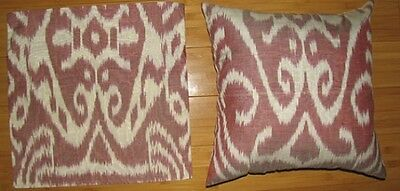 2 Uzbek Silk Ikat Fabric Pillow Cases Orient 6328-7848