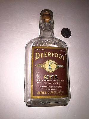 """Rare Whiskey Flask Paper Label """" Deerfoot Rye Whiskey"""" Glass Cork Top 1906"""