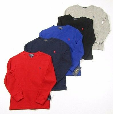 Ralph Lauren Polo  Boys L/S Waffle Knit Thermal Crew Neck T-Shirt