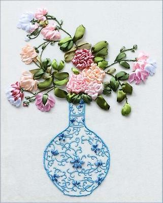 Ribbon Embroidery Kit Blue and White Porcelain Vase Needlework Craft Kit RE3057