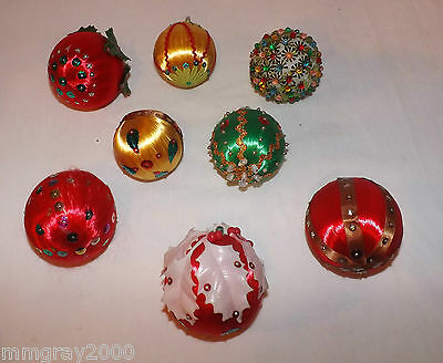 Vintage Sequin & Bead Satin Ornaments  8 Large Balls