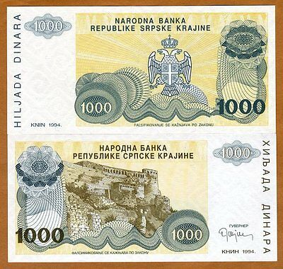 Croatia, Knin 1000 Dinara, 1994, Pick R30, No Serial Numbers, UNC