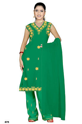 Salwar Kameez SET CARNEVALE SARI Boho INDIA Bollywood verde in 4 taglie