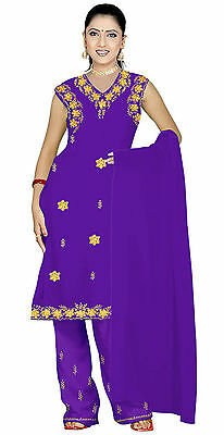 Salwar Kameez SET CARNEVALE SARI Boho INDIA Bollywood lilla in 4 taglie