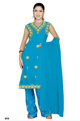 Salwar Kameez SET CARNEVALE SARI Boho INDIA Bollywood CELESTE IN 4 taglie