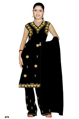 Salwar Kameez Set Carnevale Sari Boho India Bollywood Nero in 4 Taglie