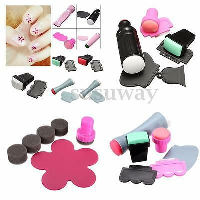 Kit Stamping Tampon Ongles Stamp Plaque Pochoir Image Manucure Nail Art Outil