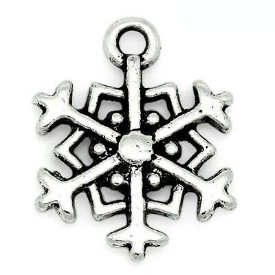 Packet of 20 x Antique Silver Tibetan 18mm Charms Pendants (Snowflake) ZX06370