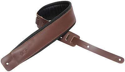 """Levy's DM1PD-BRN 3"""" Classic Padded Garment Leather Guitar/Bass Strap - Brown"""
