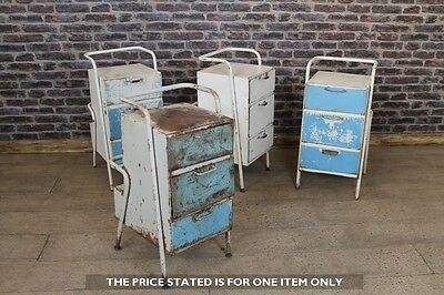 Vintage Industrial Bedside Cabinets Distressed Metal Drawers Side Table