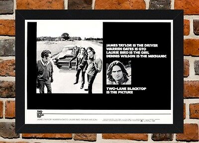 Framed Two Lane Blacktop Movie Poster A4 / A3 Size In Black / White Frame