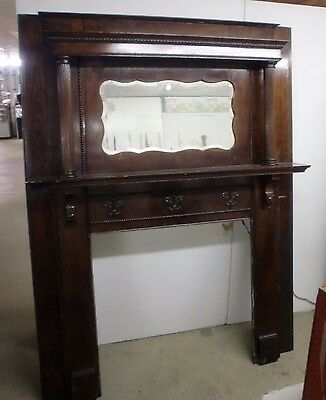 Antique Oak Old Finish Pillar Fireplace Mantle Surround Beveled Mirror Original
