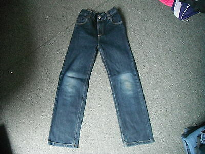 "TU Straight Leg Jeans Waist 22"" Leg 23.5"" Faded Dark Blue Boys 9 Yrs Jeans"