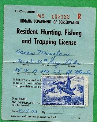 Washington 1949 resident hunting fishing license rw16 for Fishing license indiana