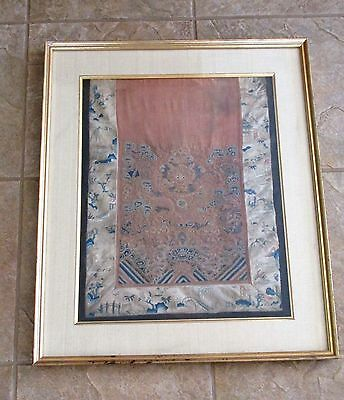 Chinese Qing Dynasty Foo Dog Lion Framed Textile Silk Embroidery Panel