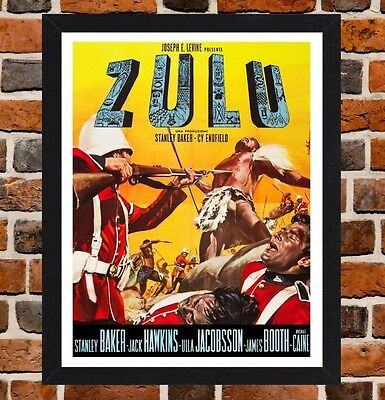 Framed Zulu Movie Poster A4 / A3 Size Mounted In Black / White Frame
