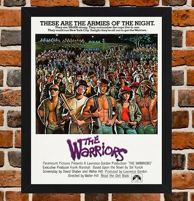 Framed The Warriors Movie Poster A4 / A3 Size Mounted In Black / White Frame