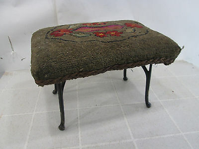 Vintage Hand Made Stool with Needlepoint Top