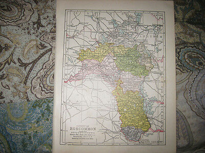 Antique 1900 County Roscommon Ireland Map Boyle Ballymoe Moycarn Castlerea Nr