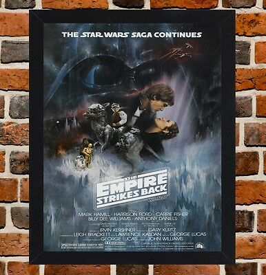 Framed The Empire Strikes Back Movie Poster A4 / A3 Size In Black / White Frame