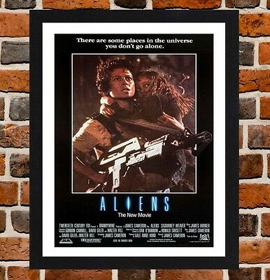 Framed Aliens Movie Poster A4 / A3 Size In Black / White Frame (Version-2)