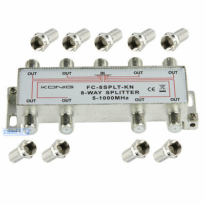 8 Way Digital Tv Aerial Sat Freeview F Plug Coaxial Signal Tv Cable Splitter