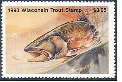 WIT13   Wisconsin   1990  Trout  Stamp   MNH    #WIT13 DSS