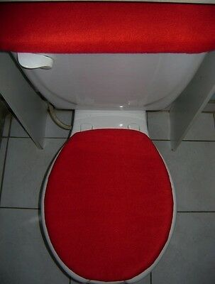 SOLID RED Fleece Fabric - Elongated Toilet Seat Lid & Tank Cover Set