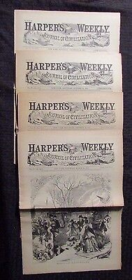 1861 Harper's Weekly Journal Newspaper Reissue LOT of 4 FN- 1/26 3/30 10/12 12/2