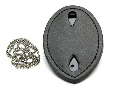 Clip-On Leather Shield Style Badge Holder w/Pocket Belt Clip plus Neck Chain