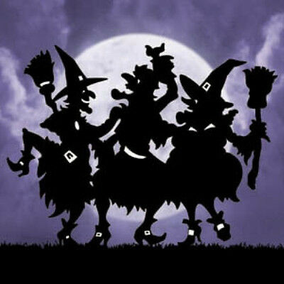 """**NEW** Halloween Lawn Art Yard Shadow/Silhouette - """"Dancing Witches"""" 48""""H!"""