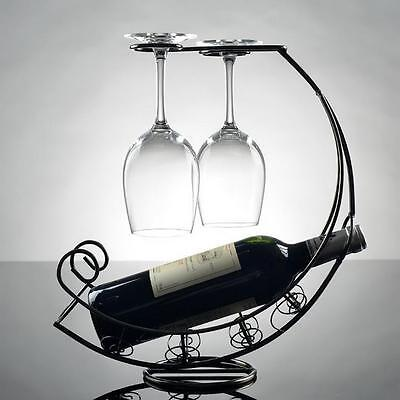 Metal Wine Rack Bottle Glass Cup Holder Modern Moon Boat Table S