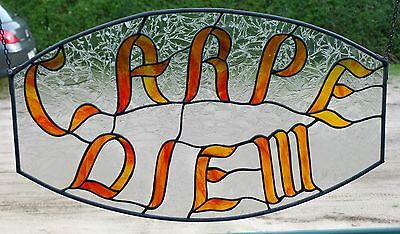 "Stained Glass Leaded Window Mural ""Carpe diem"" / ""Enjoy the Tag"", in Tiffany"