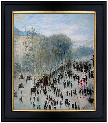Framed Hand Painted Oil Painting Repro Monet Boulevard des Capucines 20x24in