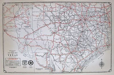 1932 Antique TEXAS Map of Texas Road Map Poster Print Rare Size Map 2598