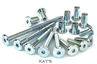 M6 Furniture Connector Bolts & Cap Nuts, Flat Head Allen Key Screws Zinc Plated