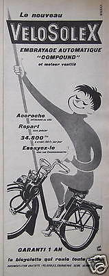 Publicité Velosolex Embrayage Automatique Compound Bicyclette Qui Roule Seul
