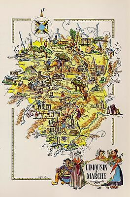 VINTAGE FRANCE Map LIMOUSIN MARCHE Region Fun Artistic Pictorial Map