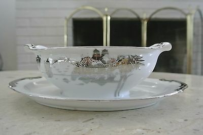 Kutani NS China Hand Painted Double Spout Gravy Boat With Attach Under Plate