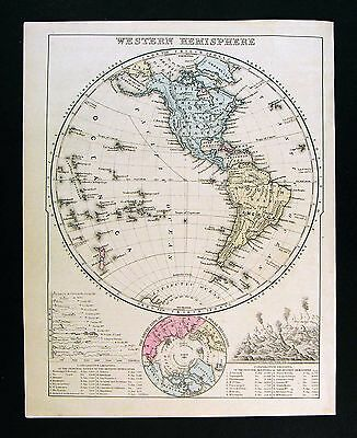 1872 Mitchell Map - Western Hemisphere - North South America Hawaii North Pole