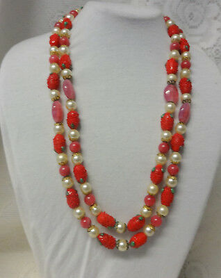 Vintage Art Deco Red Strawberry Shaped Glass Fruit Salad Pearls Heavy Necklace