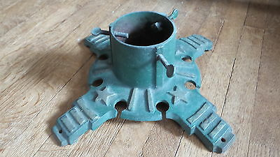 Antique CAST IRON CHRISTMAS TREE or FLAG STAND Original Green Paint,Gold Stars